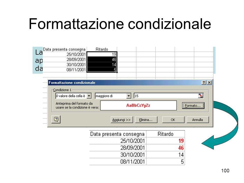 100 Formattazione condizionale La formattazione condizionale numerica permette di applicare un formato di visualizzazione che dipende dal valore contenuto nella cella formattata.