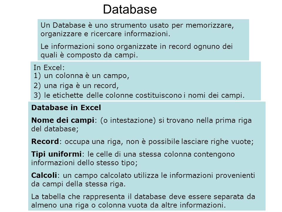 105 Database Un Database è uno strumento usato per memorizzare, organizzare e ricercare informazioni. Le informazioni sono organizzate in record ognun