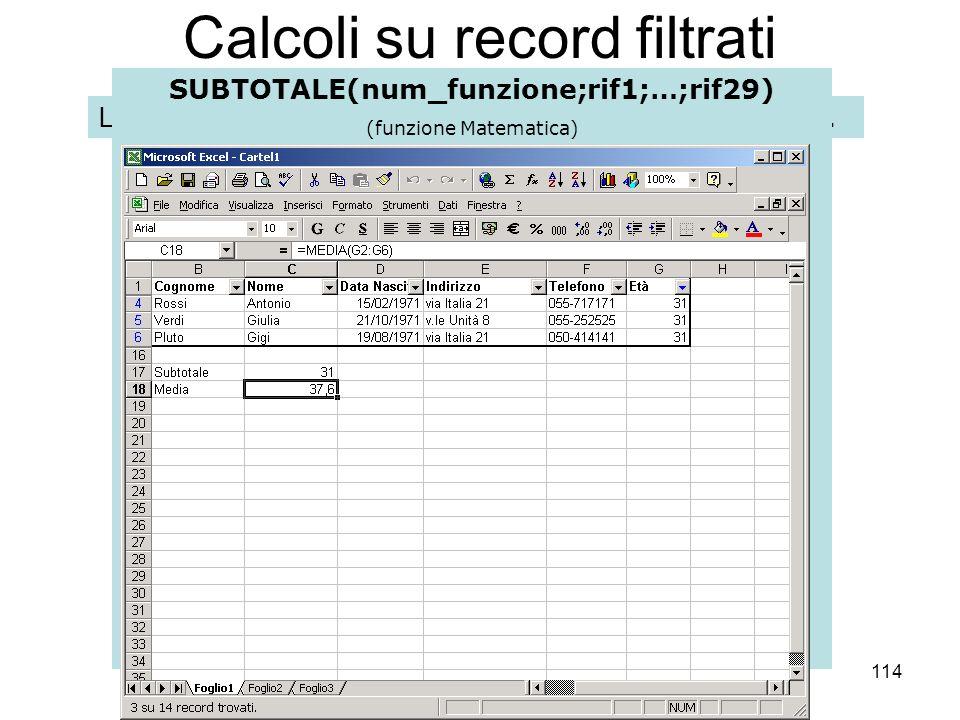 114 Calcoli su record filtrati Le funzioni effettuano calcoli riferiti allintero database.