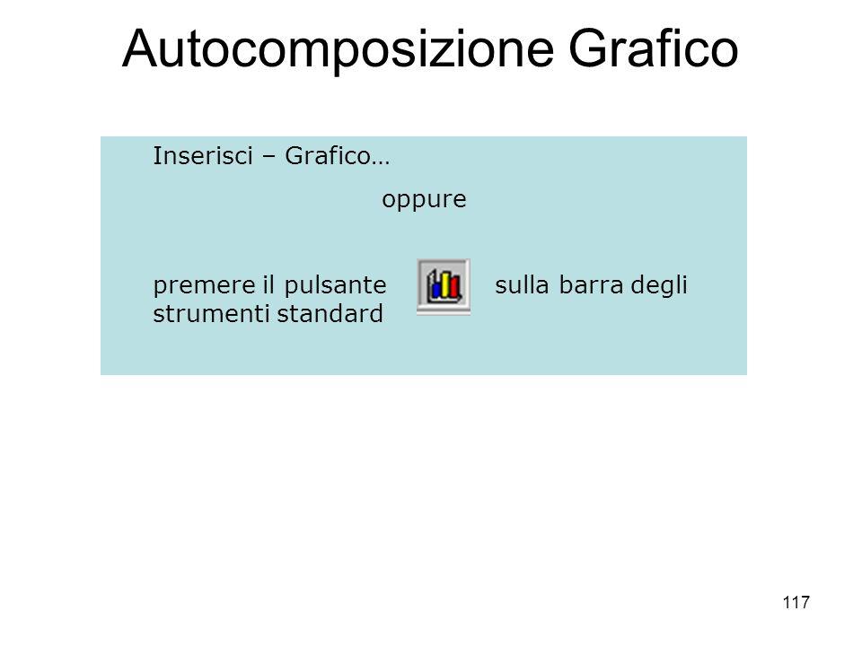 117 Autocomposizione Grafico Inserisci – Grafico… oppure premere il pulsante sulla barra degli strumenti standard