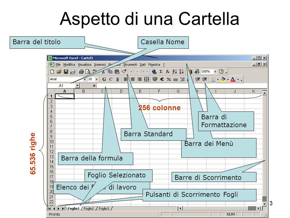 64 Categorie di Funzioni Le funzioni che si possono usare nei fogli di lavoro Excel sono suddivise per categorie: Database Data e ora Finanziarie Informative Logiche Ricerca e riferimento Matematiche e trigonometriche Statistiche Testo