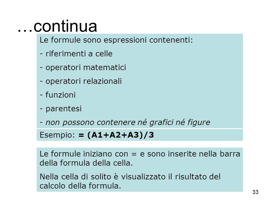 33 …continua Le formule sono espressioni contenenti: - riferimenti a celle - operatori matematici - operatori relazionali - funzioni - parentesi - non possono contenere né grafici né figure Esempio: = (A1+A2+A3)/3 Le formule iniziano con = e sono inserite nella barra della formula della cella.
