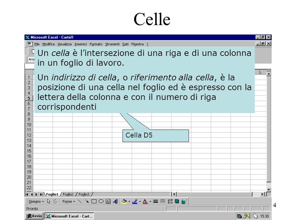 4 Cella D5 Celle Un cella è lintersezione di una riga e di una colonna in un foglio di lavoro.