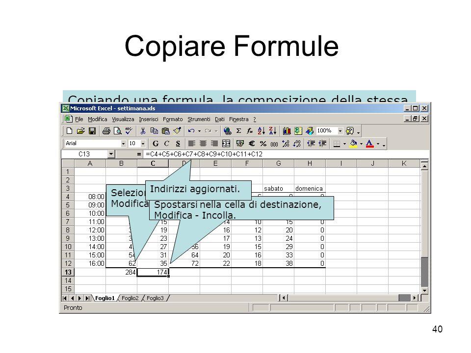 40 Copiare Formule Copiando una formula, la composizione della stessa è adattata alla cella di arrivo: gli indirizzi contenuti nella formula di partenza vengono adattati alla riga e alla colonna della cella di destinazione.