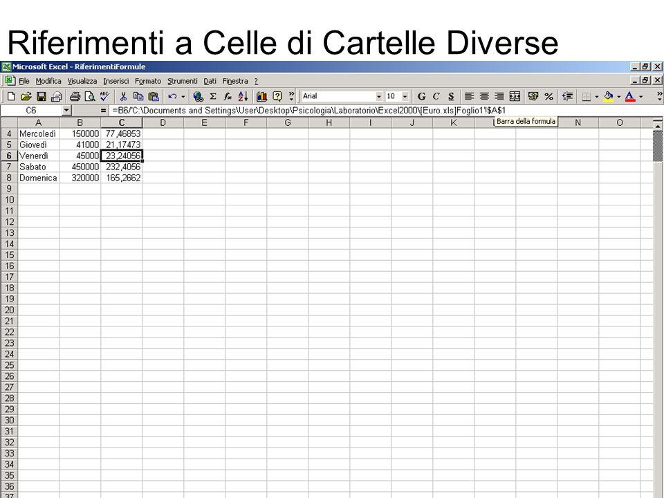 47 Riferimenti a Celle di Cartelle Diverse Una formula che collega cartelle di lavoro è una formula che fa riferimento a celle presenti in più di una cartella.