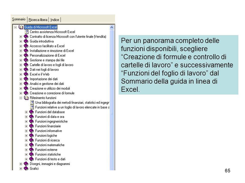 65 Per un panorama completo delle funzioni disponibili, scegliere Creazione di formule e controllo di cartelle di lavoro e successivamente Funzioni del foglio di lavoro dal Sommario della guida in linea di Excel.