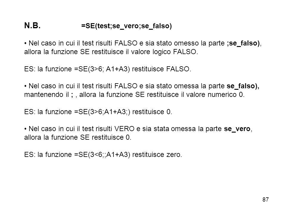 87 N.B. =SE(test;se_vero;se_falso) Nel caso in cui il test risulti FALSO e sia stato omesso la parte ;se_falso), allora la funzione SE restituisce il