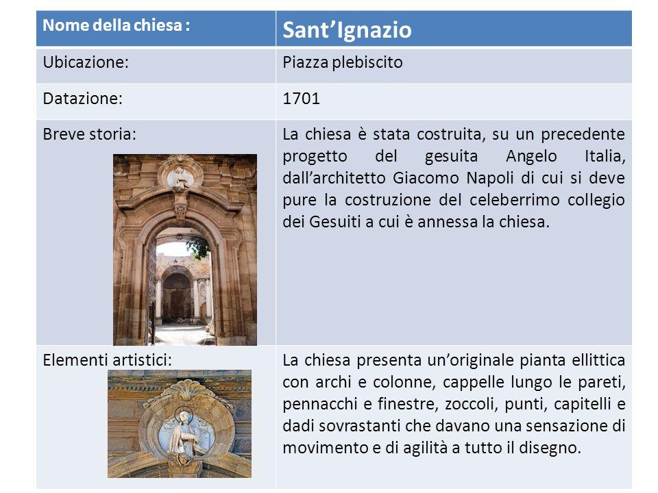 Particolare della facciata Facciata principale della Chiesa di Santa Caterina
