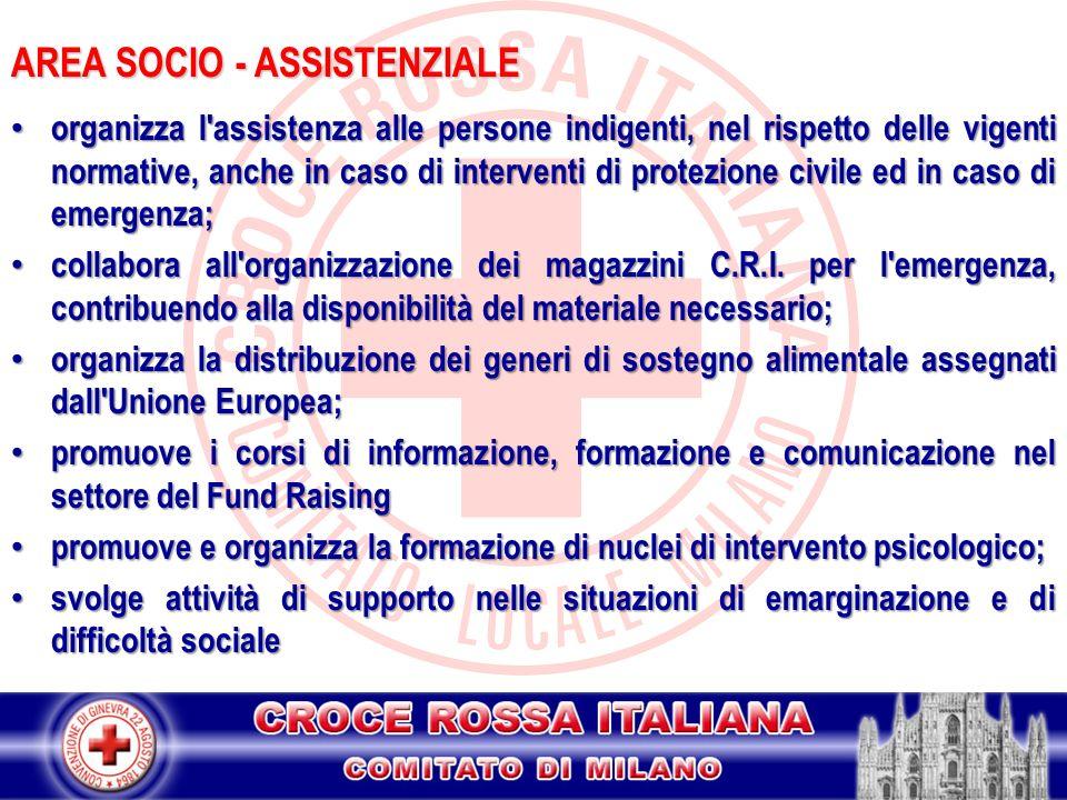 AREA SOCIO - ASSISTENZIALE organizza l'assistenza alle persone indigenti, nel rispetto delle vigenti normative, anche in caso di interventi di protezi