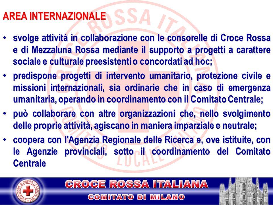 AREA INTERNAZIONALE svolge attività in collaborazione con le consorelle di Croce Rossa e di Mezzaluna Rossa mediante il supporto a progetti a caratter