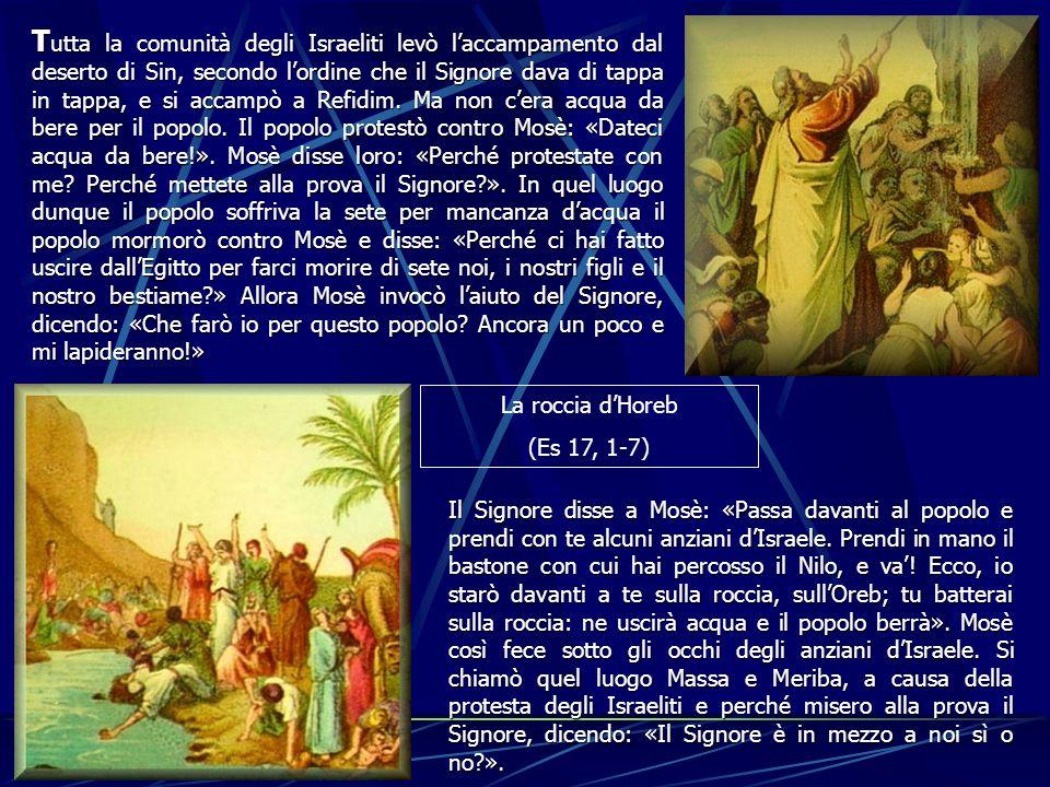 T utta T utta la comunità degli Israeliti levò laccampamento dal deserto di Sin, secondo lordine che il Signore dava di tappa in tappa, e si accampò a