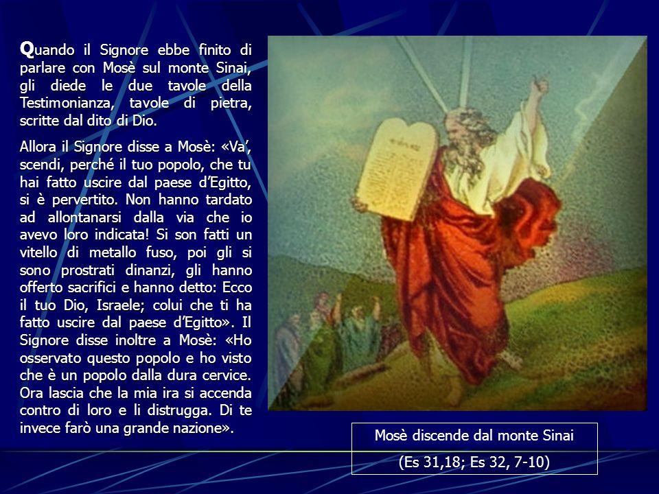 Q uando Q uando il Signore ebbe finito di parlare con Mosè sul monte Sinai, gli diede le due tavole della Testimonianza, tavole di pietra, scritte dal