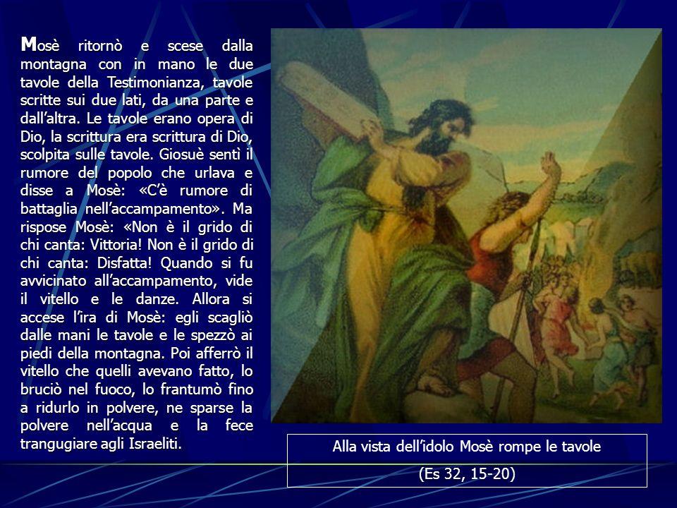 M osè M osè ritornò e scese dalla montagna con in mano le due tavole della Testimonianza, tavole scritte sui due lati, da una parte e dallaltra. Le ta