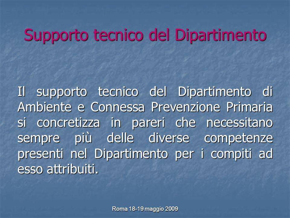 Roma 18-19 maggio 2009 Supporto tecnico del Dipartimento Il supporto tecnico del Dipartimento di Ambiente e Connessa Prevenzione Primaria si concretizza in pareri che necessitano sempre più delle diverse competenze presenti nel Dipartimento per i compiti ad esso attribuiti.