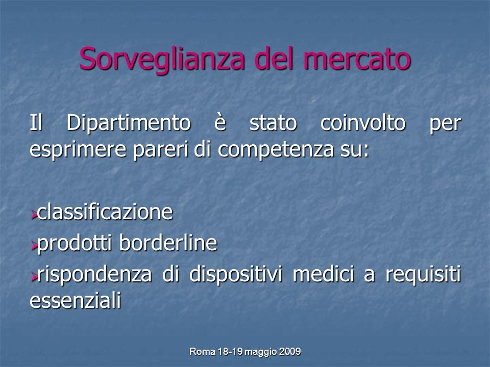 Roma 18-19 maggio 2009 Sorveglianza del mercato Il Dipartimento è stato coinvolto per esprimere pareri di competenza su: classificazione classificazione prodotti borderline prodotti borderline rispondenza di dispositivi medici a requisiti essenziali rispondenza di dispositivi medici a requisiti essenziali