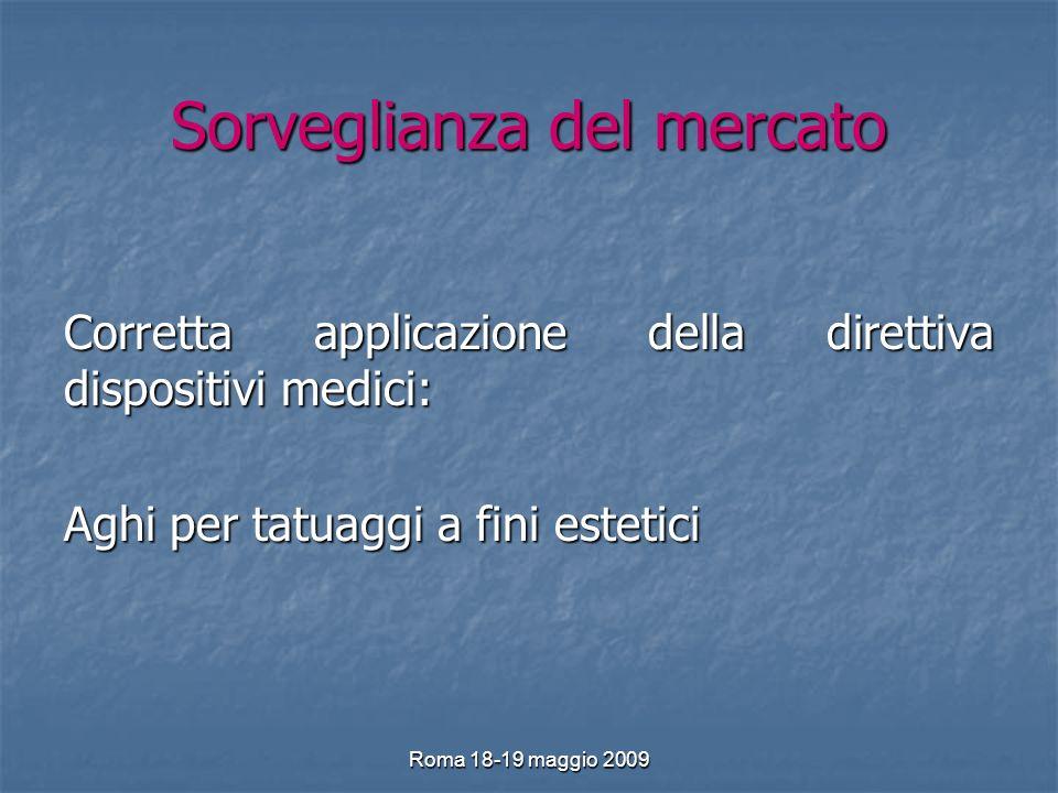 Roma 18-19 maggio 2009 Sorveglianza del mercato Corretta applicazione della direttiva dispositivi medici: Aghi per tatuaggi a fini estetici