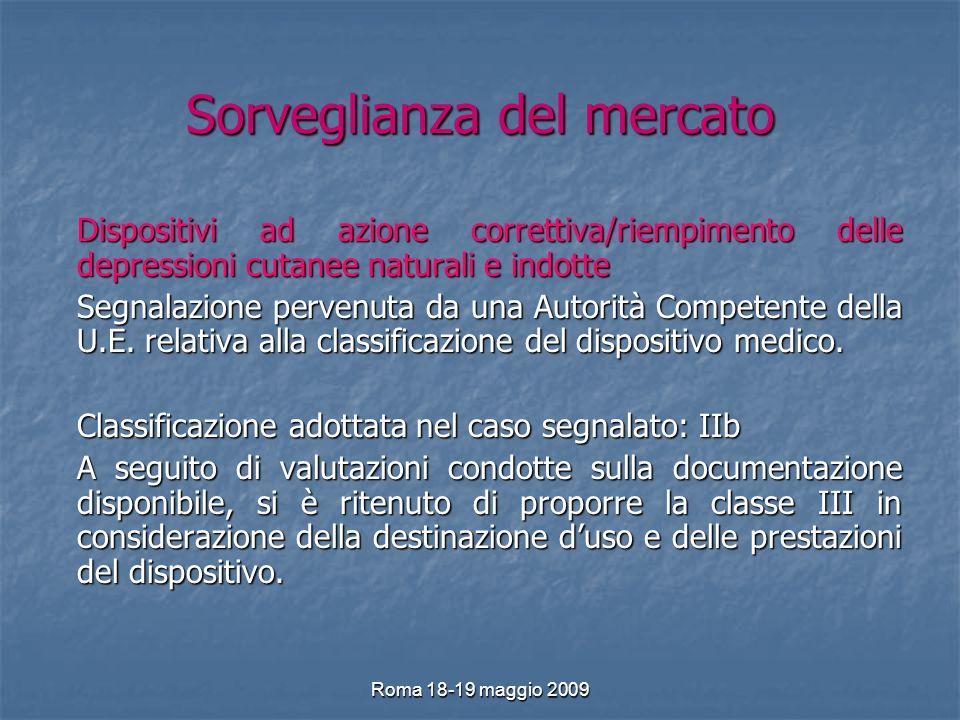 Roma 18-19 maggio 2009 Sorveglianza del mercato Dispositivi ad azione correttiva/riempimento delle depressioni cutanee naturali e indotte Segnalazione pervenuta da una Autorità Competente della U.E.