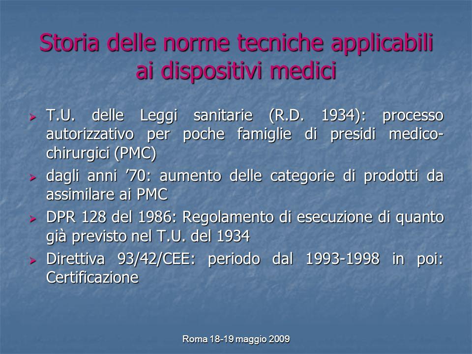 Roma 18-19 maggio 2009 Storia delle norme tecniche applicabili ai dispositivi medici T.U.
