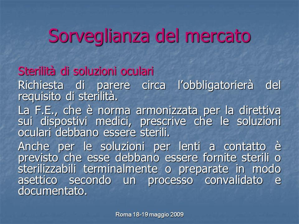 Roma 18-19 maggio 2009 Sorveglianza del mercato Sterilità di soluzioni oculari Richiesta di parere circa lobbligatorierà del requisito di sterilità.