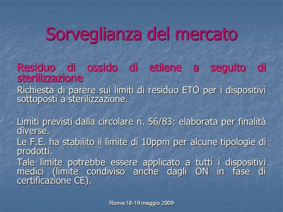 Roma 18-19 maggio 2009 Sorveglianza del mercato Residuo di ossido di etilene a seguito di sterilizzazione Richiesta di parere sui limiti di residuo ETO per i dispositivi sottoposti a sterilizzazione.