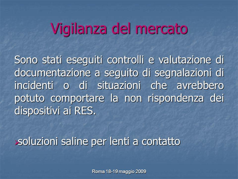 Roma 18-19 maggio 2009 Vigilanza del mercato Sono stati eseguiti controlli e valutazione di documentazione a seguito di segnalazioni di incidenti o di situazioni che avrebbero potuto comportare la non rispondenza dei dispositivi ai RES.