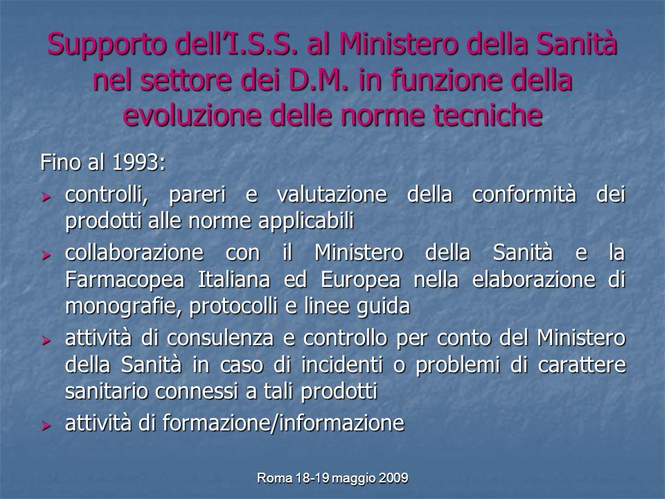 Roma 18-19 maggio 2009 Supporto dellI.S.S. al Ministero della Sanità nel settore dei D.M.