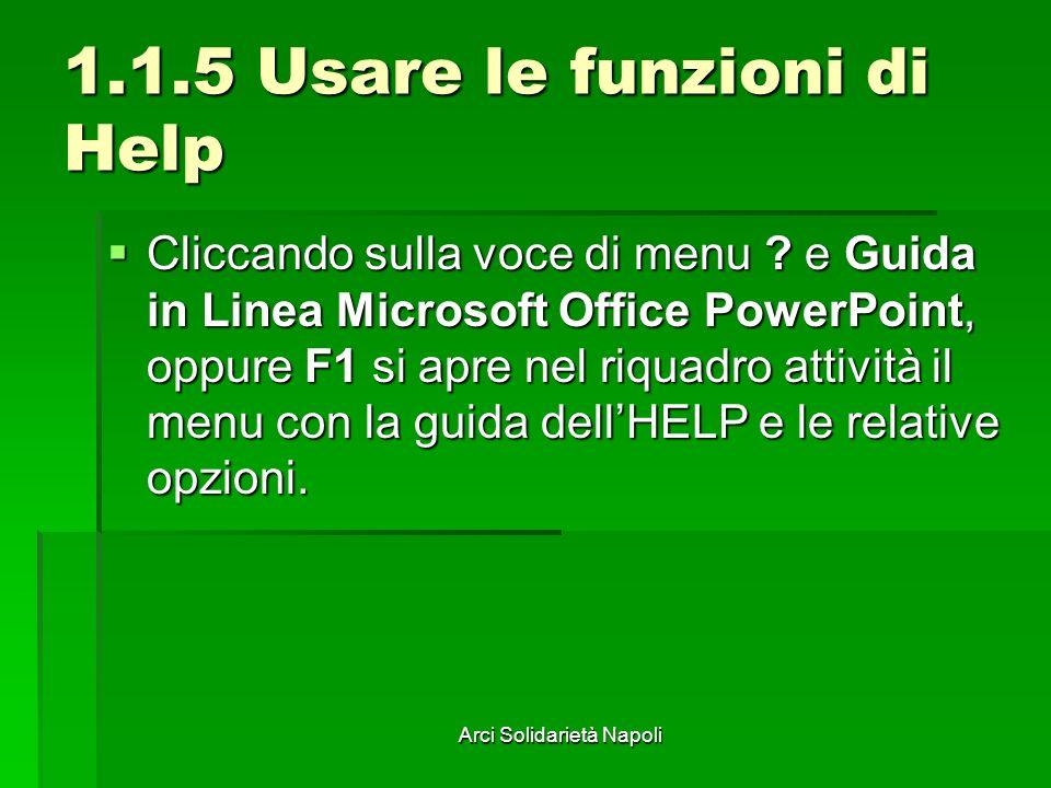 Arci Solidarietà Napoli 1.1.5 Usare le funzioni di Help Cliccando sulla voce di menu ? e Guida in Linea Microsoft Office PowerPoint, oppure F1 si apre