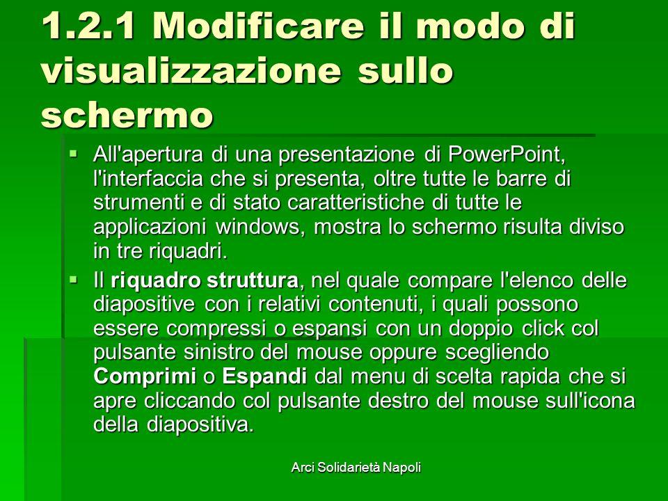 Arci Solidarietà Napoli 1.2.1 Modificare il modo di visualizzazione sullo schermo All'apertura di una presentazione di PowerPoint, l'interfaccia che s