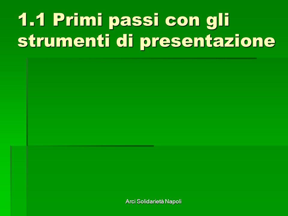 Arci Solidarietà Napoli 1.1 Primi passi con gli strumenti di presentazione