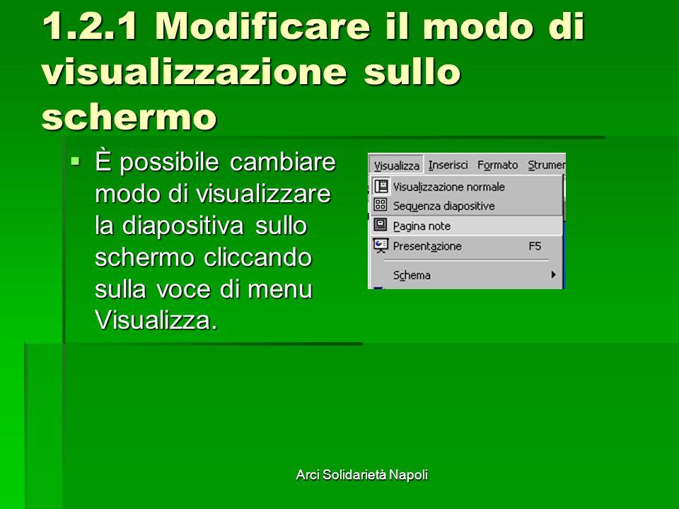 Arci Solidarietà Napoli 1.2.1 Modificare il modo di visualizzazione sullo schermo È possibile cambiare modo di visualizzare la diapositiva sullo schermo cliccando sulla voce di menu Visualizza.