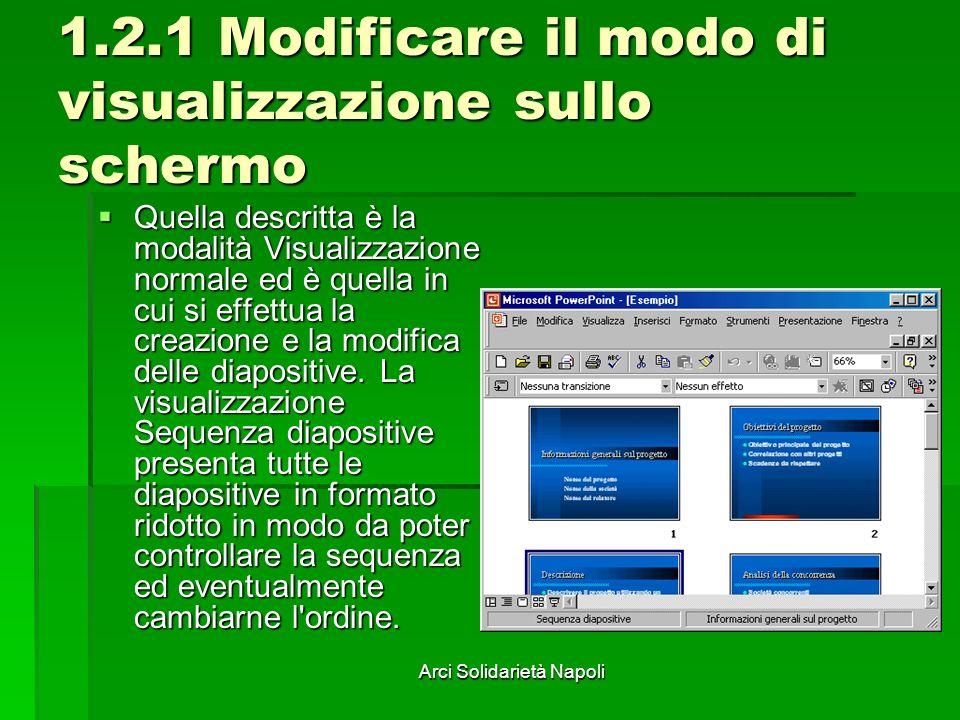 Arci Solidarietà Napoli 1.2.1 Modificare il modo di visualizzazione sullo schermo Quella descritta è la modalità Visualizzazione normale ed è quella in cui si effettua la creazione e la modifica delle diapositive.