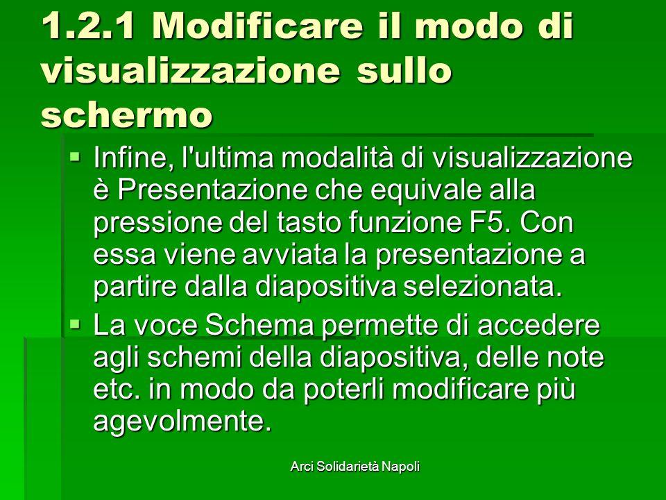 Arci Solidarietà Napoli 1.2.1 Modificare il modo di visualizzazione sullo schermo Infine, l'ultima modalità di visualizzazione è Presentazione che equ