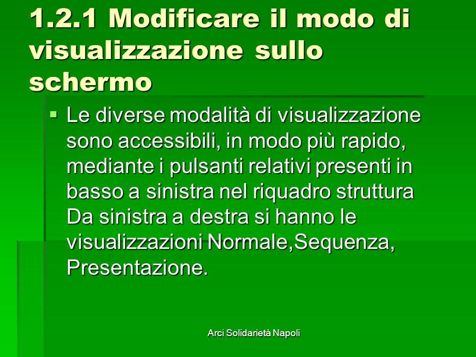 Arci Solidarietà Napoli 1.2.1 Modificare il modo di visualizzazione sullo schermo Le diverse modalità di visualizzazione sono accessibili, in modo più