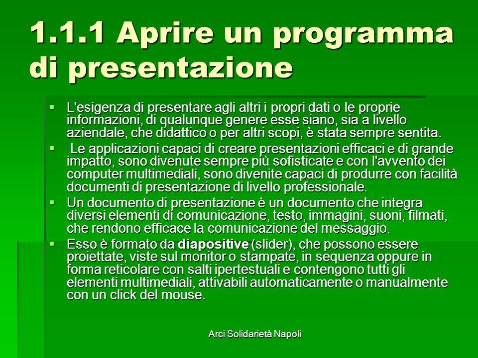 Arci Solidarietà Napoli 2.1.1 Creare una nuova presentazione È possibile la definizione della struttura, diapositiva per diapositiva, oppure scegliere di applicare un Modello Struttura.