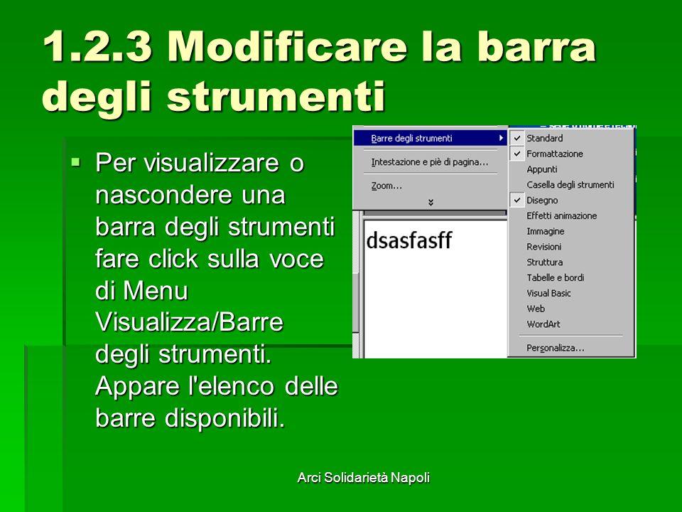 Arci Solidarietà Napoli 1.2.3 Modificare la barra degli strumenti Per visualizzare o nascondere una barra degli strumenti fare click sulla voce di Menu Visualizza/Barre degli strumenti.