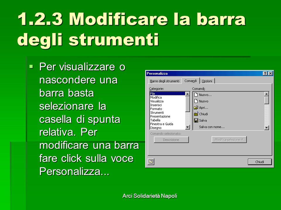 Arci Solidarietà Napoli 1.2.3 Modificare la barra degli strumenti Per visualizzare o nascondere una barra basta selezionare la casella di spunta relat