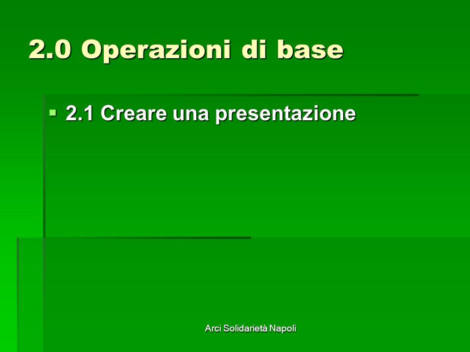 Arci Solidarietà Napoli 2.0 Operazioni di base 2.1 Creare una presentazione 2.1 Creare una presentazione