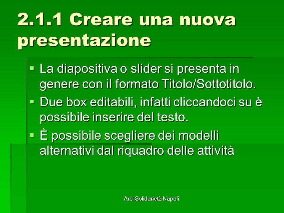Arci Solidarietà Napoli 2.1.1 Creare una nuova presentazione La diapositiva o slider si presenta in genere con il formato Titolo/Sottotitolo. La diapo