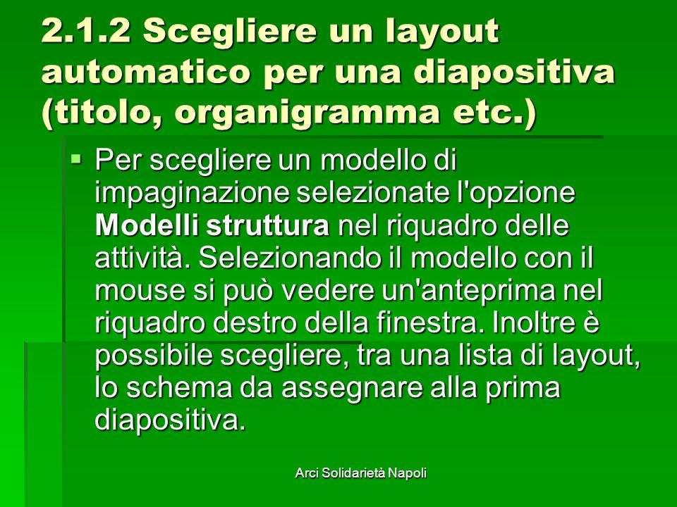 Arci Solidarietà Napoli 2.1.2 Scegliere un layout automatico per una diapositiva (titolo, organigramma etc.) Per scegliere un modello di impaginazione selezionate l opzione Modelli struttura nel riquadro delle attività.