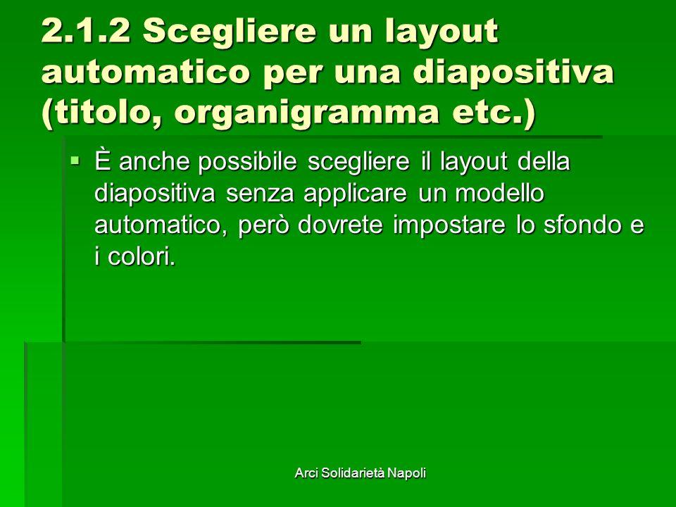 Arci Solidarietà Napoli 2.1.2 Scegliere un layout automatico per una diapositiva (titolo, organigramma etc.) È anche possibile scegliere il layout della diapositiva senza applicare un modello automatico, però dovrete impostare lo sfondo e i colori.