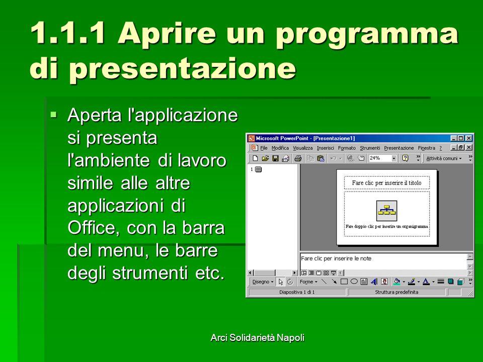 Arci Solidarietà Napoli 1.1.1 Aprire un programma di presentazione Aperta l applicazione si presenta l ambiente di lavoro simile alle altre applicazioni di Office, con la barra del menu, le barre degli strumenti etc.