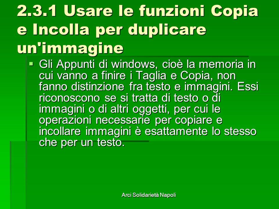Arci Solidarietà Napoli 2.3.1 Usare le funzioni Copia e Incolla per duplicare un immagine Gli Appunti di windows, cioè la memoria in cui vanno a finire i Taglia e Copia, non fanno distinzione fra testo e immagini.