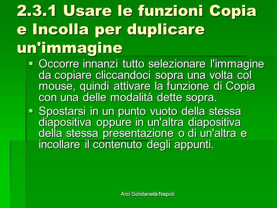 Arci Solidarietà Napoli 2.3.1 Usare le funzioni Copia e Incolla per duplicare un'immagine Occorre innanzi tutto selezionare l'immagine da copiare clic