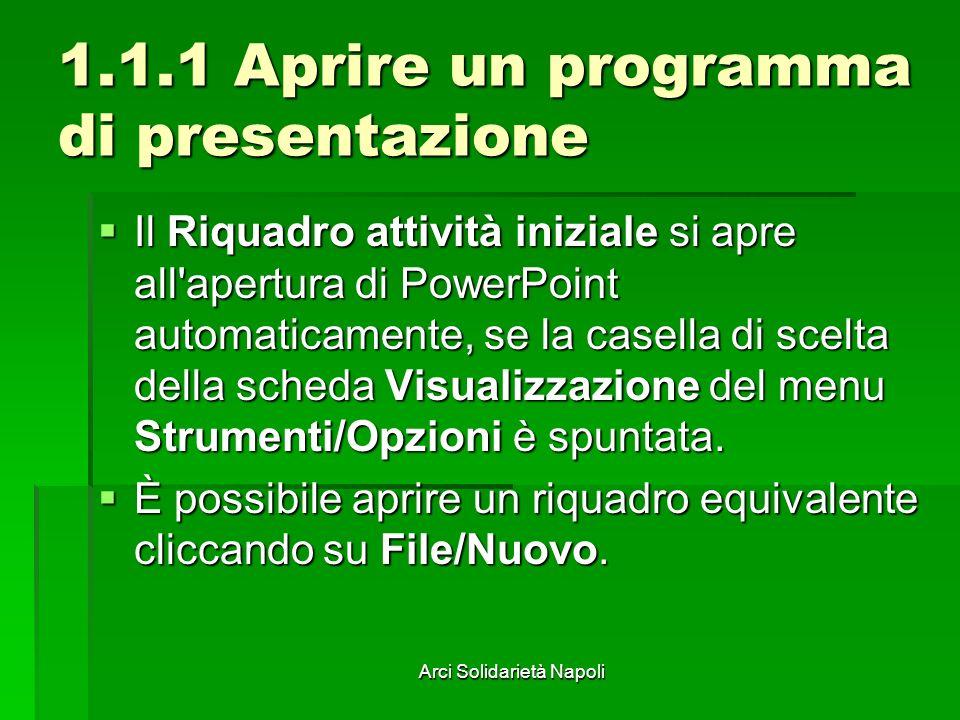 Arci Solidarietà Napoli 1.1.1 Aprire un programma di presentazione Il Riquadro attività iniziale si apre all apertura di PowerPoint automaticamente, se la casella di scelta della scheda Visualizzazione del menu Strumenti/Opzioni è spuntata.