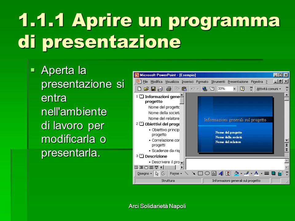 Arci Solidarietà Napoli 1.1.1 Aprire un programma di presentazione Aperta la presentazione si entra nell ambiente di lavoro per modificarla o presentarla.