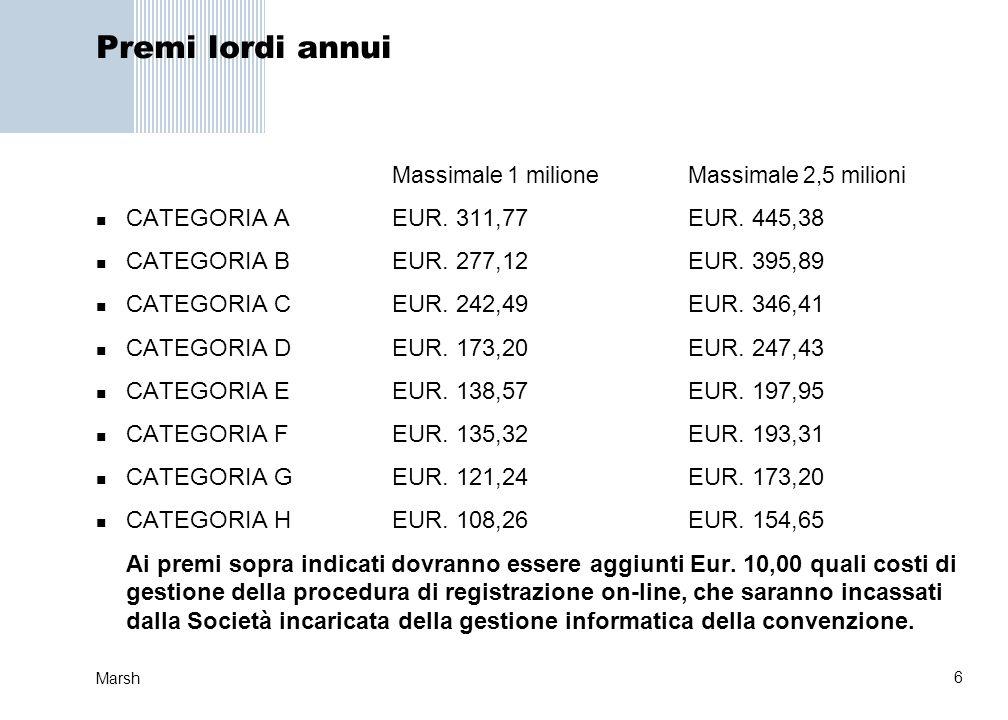 6 Marsh Premi lordi annui Massimale 1 milioneMassimale 2,5 milioni CATEGORIA AEUR. 311,77EUR. 445,38 CATEGORIA BEUR. 277,12EUR. 395,89 CATEGORIA CEUR.