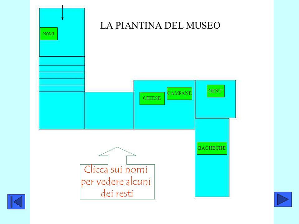 CAMPANE GESU BACHECHE LA PIANTINA DEL MUSEO NOMI Clicca sui nomi per vedere alcuni dei resti CHIESE