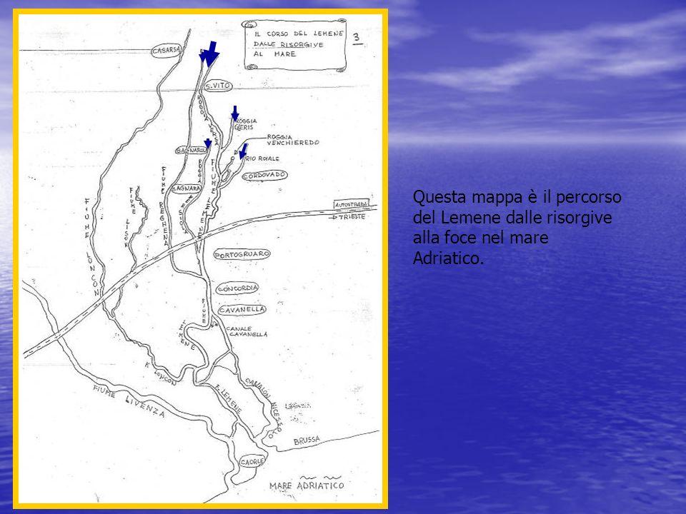 Questa mappa è il percorso del Lemene dalle risorgive alla foce nel mare Adriatico.