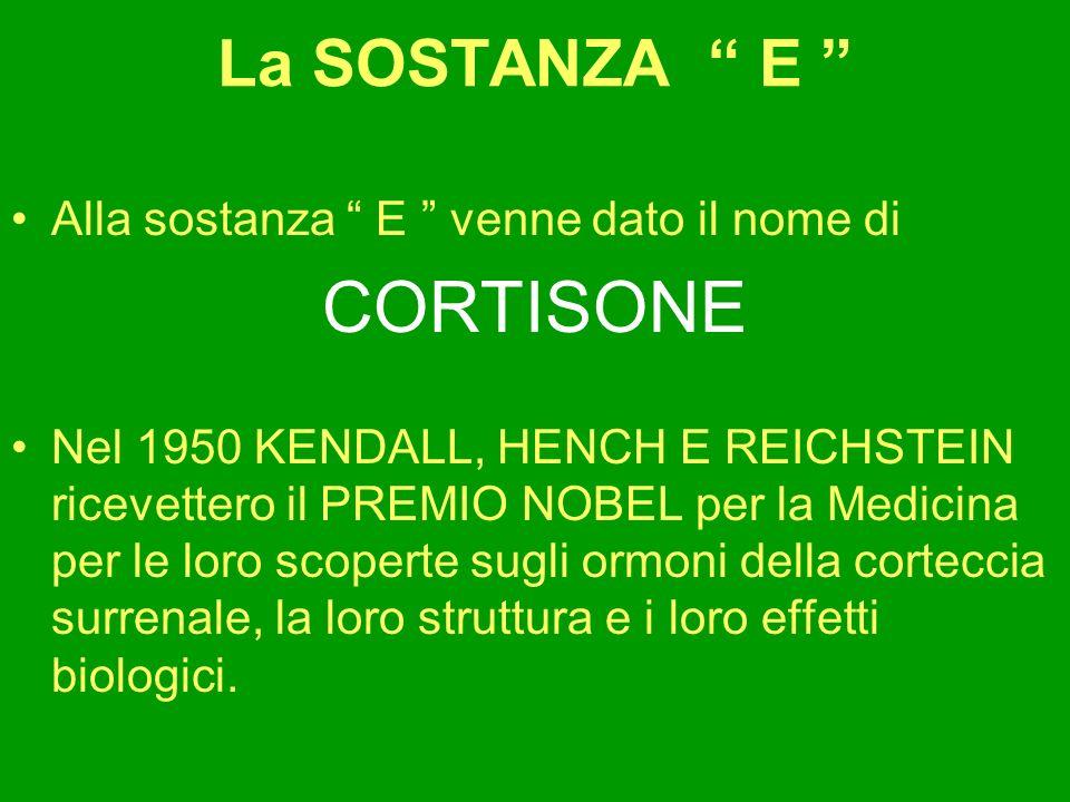 La SOSTANZA E Alla sostanza E venne dato il nome di CORTISONE Nel 1950 KENDALL, HENCH E REICHSTEIN ricevettero il PREMIO NOBEL per la Medicina per le