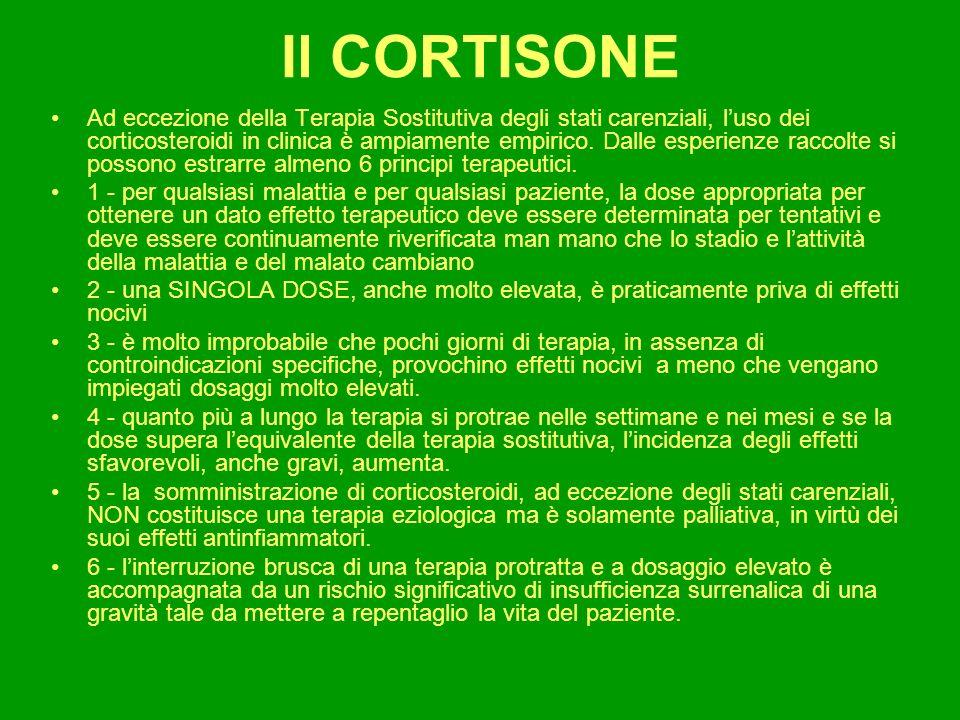 Il CORTISONE Da quanto detto deriva che: Nelle malattie in cui i corticosteroidi devono essere somministrati per lungo tempo la DOSE deve essere la più bassa con cui si può ottenere leffetto desiderato.